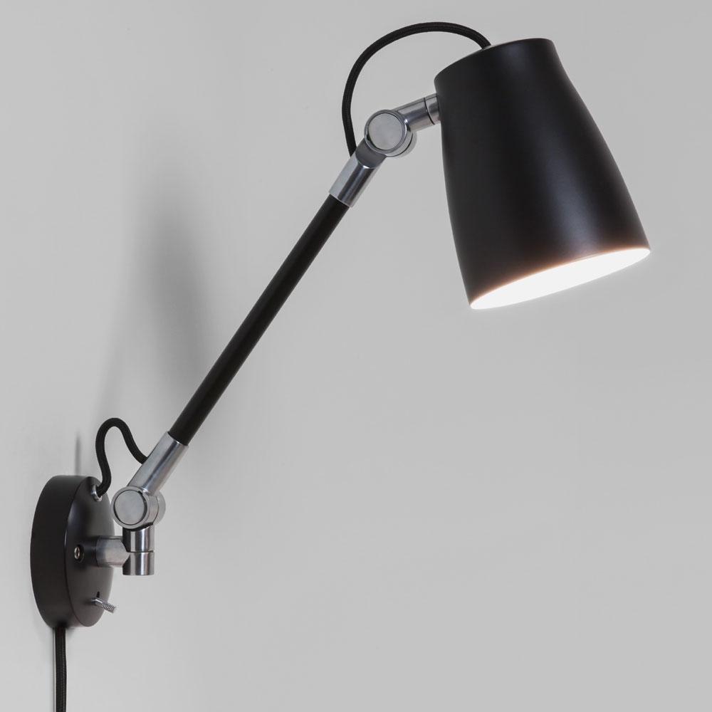 Luxo Spotlight Wall Light with arm in Black